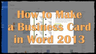 Gambar cover How to Make a Business Card in Word 2013