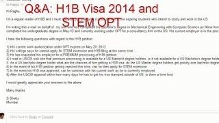 H1B Visa Application April 1 2013 and STEM OPT Extension