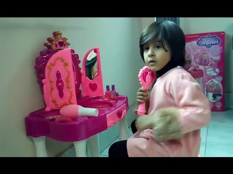 Princess glamour mirror and dressing table set, baby girls toys review for kids