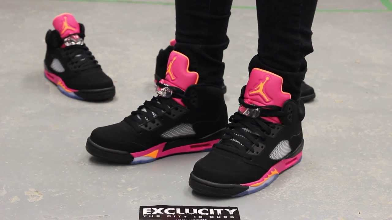 premium selection dac13 0dcfd Air Jordan V Retro GS - Black - Bright Citrus - Fusion Pink On-feet At  Exclucity