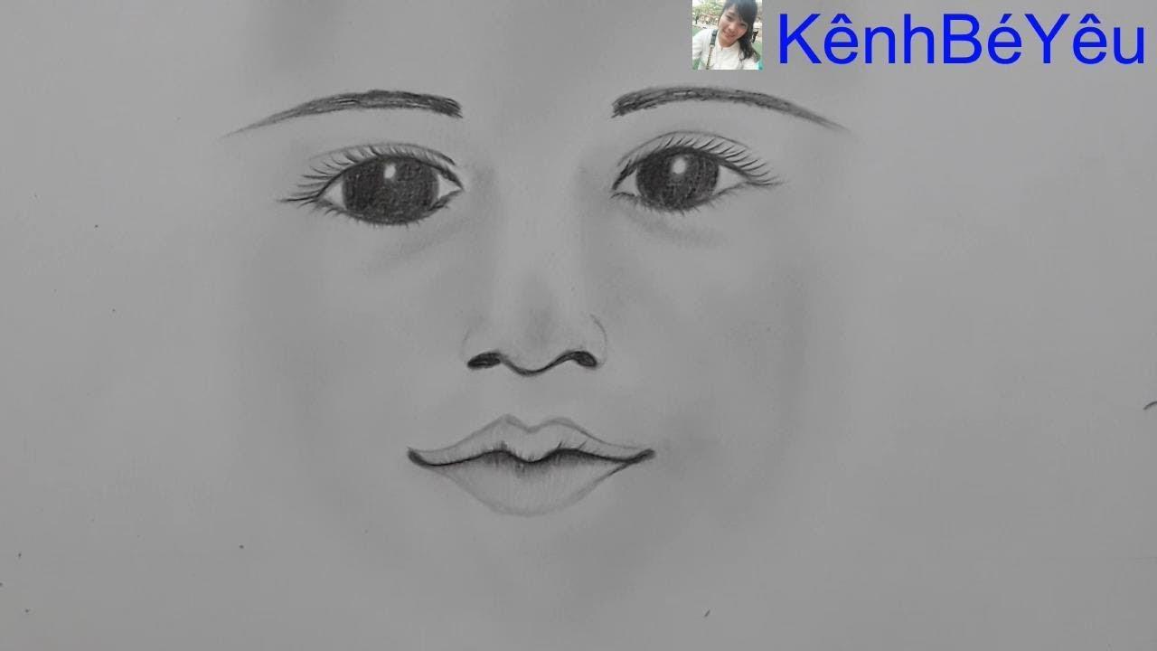 Vẽ khuôn mặt bé bằng bút chì đơn giản nhất – Draw the baby's face with the simplest pencil.