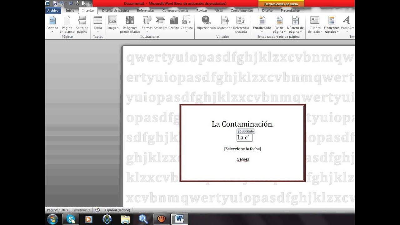 como hacer una portada en word 2011 mac