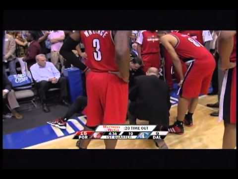 Wesley Matthews gets knocked out by Jason Terry - Trailblazers vs Mavericks 2011
