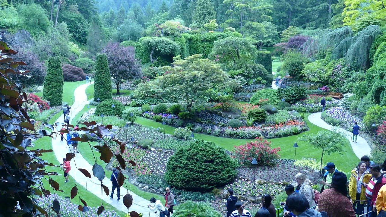 The Sunken Garden In Butchard Gardens, Victoria, Vancouver BC 4K 2015