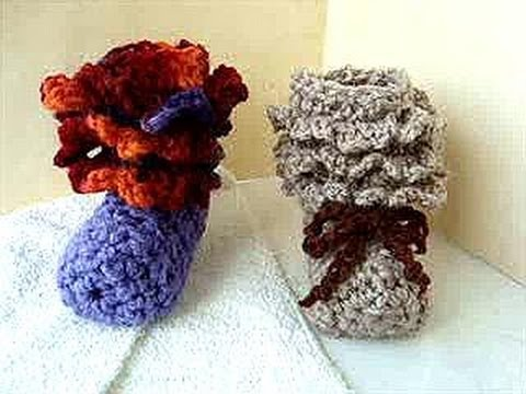 Crochet Ruffled Cuff Baby Booties How To Baby Booties