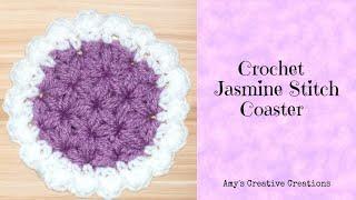 Repeat youtube video Crochet Jasmine Stitch Coaster Tutorial