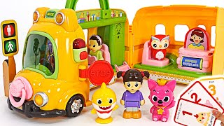 Let's take Kongsuni School Bus to play with Baby Shark and Pinkfong | PinkyPopTOY