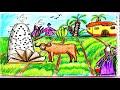 أغنية كيفية رسم الريف رسم سهل للاطفال والمبتدئين خطوة بخطوه