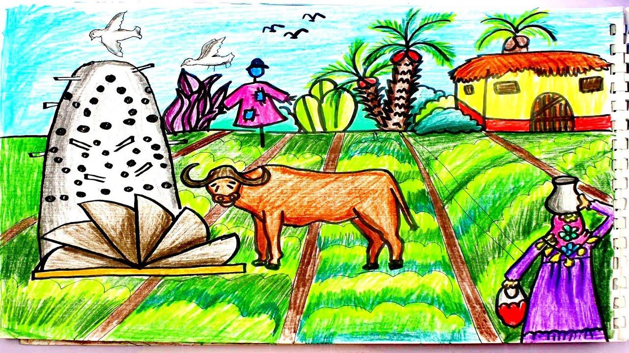 كيفية رسم الريف رسم سهل للاطفال والمبتدئين خطوة بخطوه