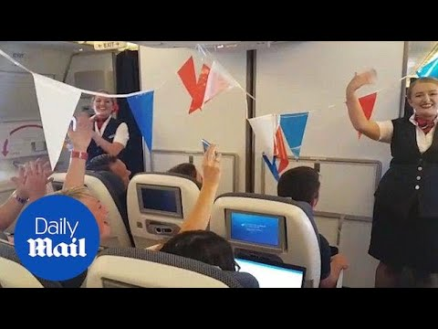 British Airways do hilarious football safety demo on way to Russia - Daily Mail