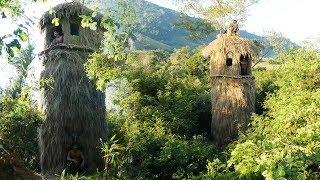 Building the most unique design tallest grass house on the tree   Building Skill