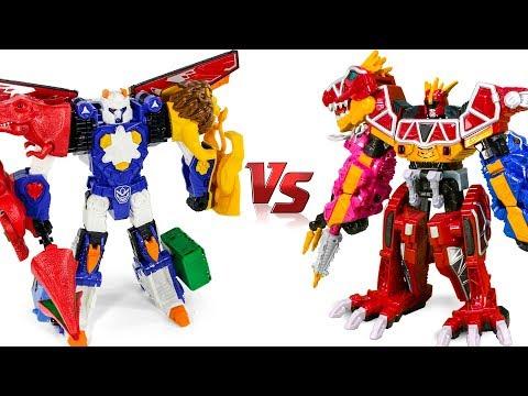 PowerRangers DinoCharge MegaZord VS HelloCarBot TyLaio Dino Animal Toy Transformation