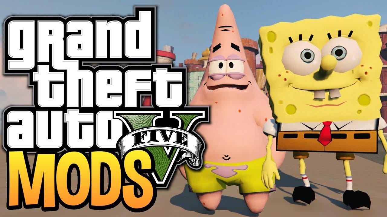 Gta  Spongebob And Patrick In Bikini Bottom Gta  Funny Moments W Mods