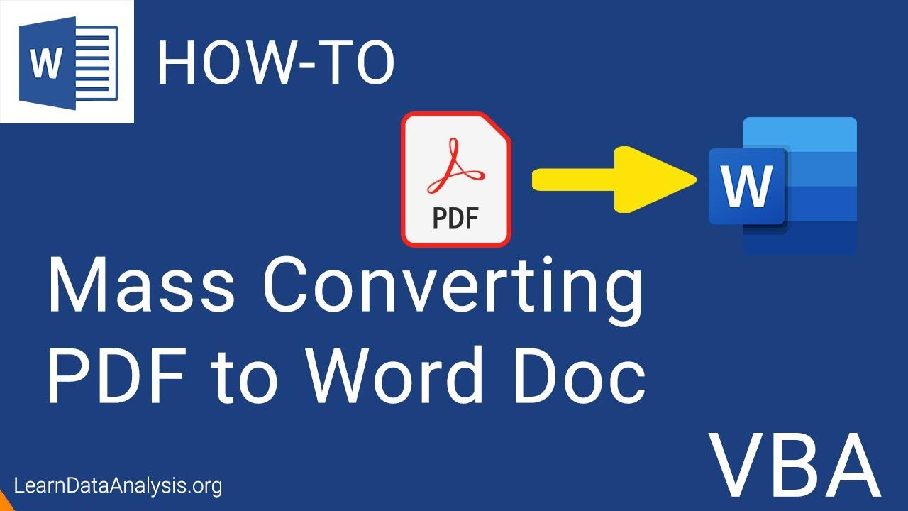 Create a Macro in MS Word to Convert PDF Files to Word Docs (Word VBA)