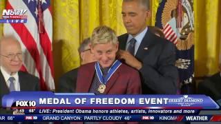 بالفيديو- تأثر أوباما وبكاء إلين ديجينيريس أثناء حصولها على وسام الحرية الرئاسي
