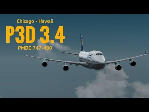 [P3Dv3.4] Chicago (KORD) - Hawaii (PHNL) | PMDG747-400 | UNITED | VATSIM
