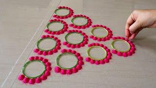 Easy Door Rangoli Design For Diwali | Simple Muggulu For Deepavali | Navratri | Dussehra Rangoli