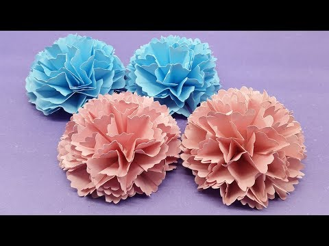 How to Make Carnation Flower out of Paper - Making Paper Flower step by step
