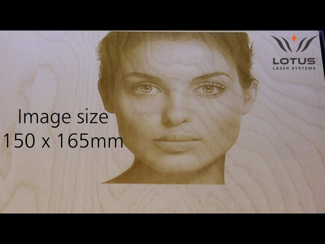 Lotus Laser Systems Blu100 80w laser engraving plywood with a photo