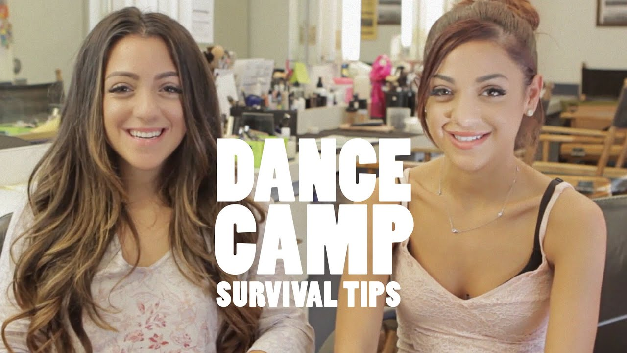 Niki and Gabi on set of Dance Camp Camp Survival Tips