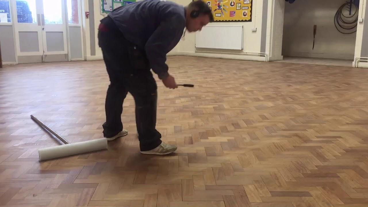 Herringbone Hardwood Block School Hall Sanding Sealing Using Floortech S