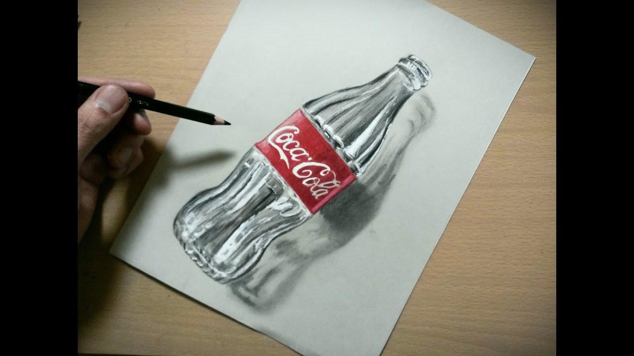 色鉛筆でコーラの空きビン描いてみたdrawing Coca Cola Plastic Bottle