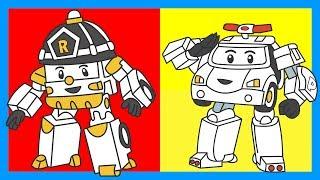 Робокар Поли - Раскраска - Мультик с машинками - Учим цвета - Часть 5. Robocar Poli - Learn Colors