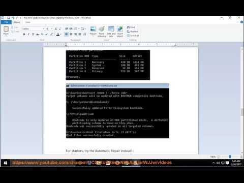 Fix error code 0xc0000185 when starting Windows