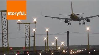 A320 hits dramatic cross winds at manchester airport and goes around
