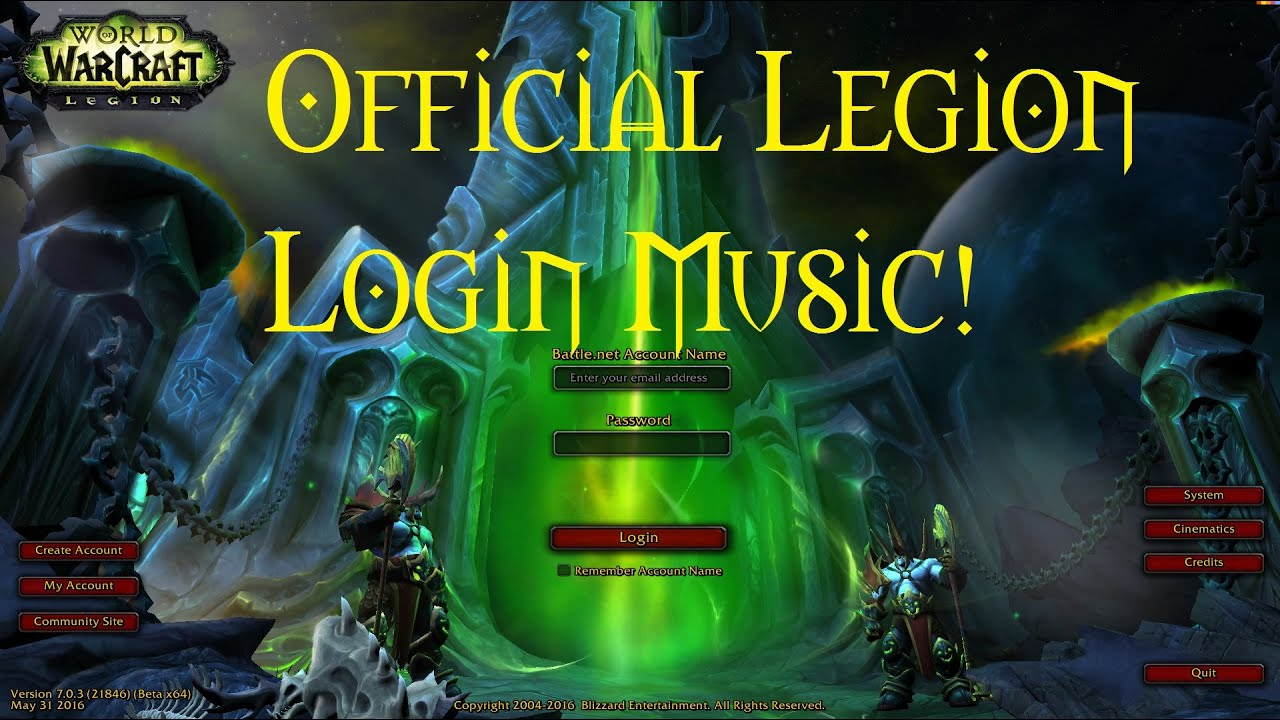 Legion Login Screen