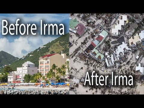 Philipsburg before and after Hurricane Irma, Sint Maarten  then and now, category 5 Hurricane