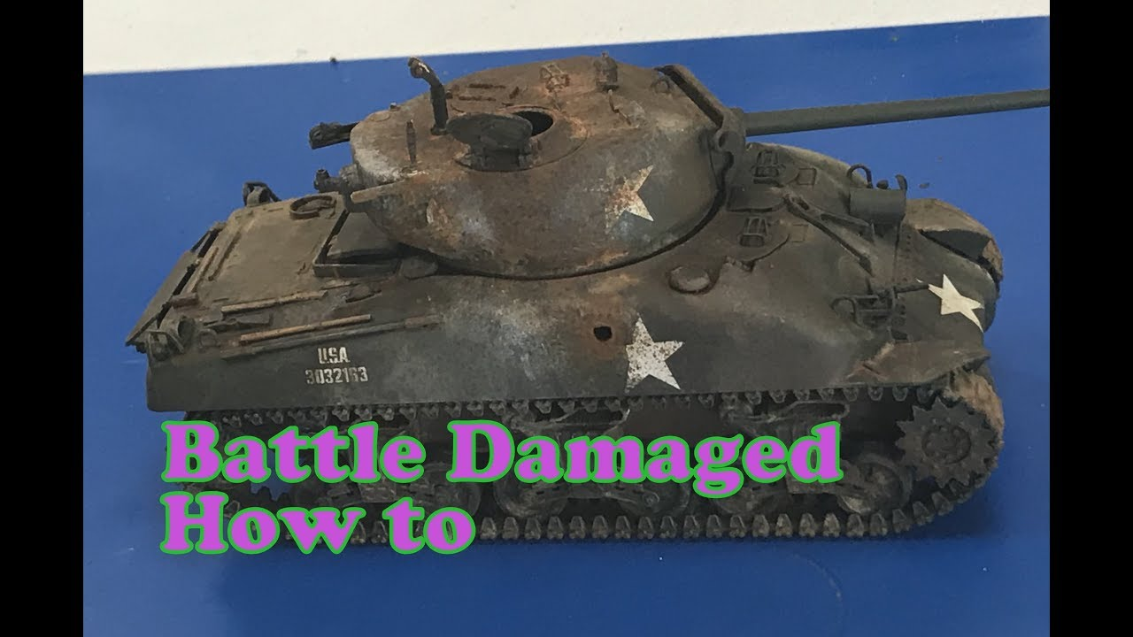 Painting and weathering knocked out damaged 1/35 Armor models, M4 Sherman