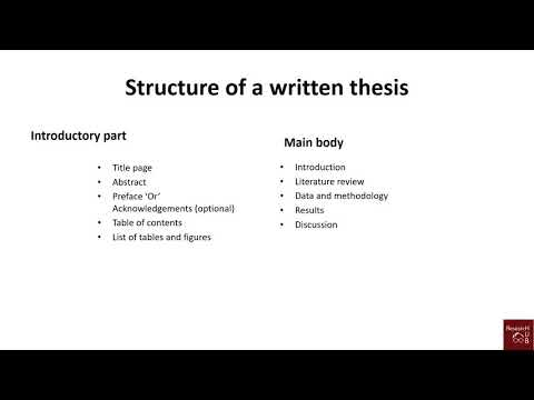 Standard Structure Of A Thesis / Dissertation / Journal Article