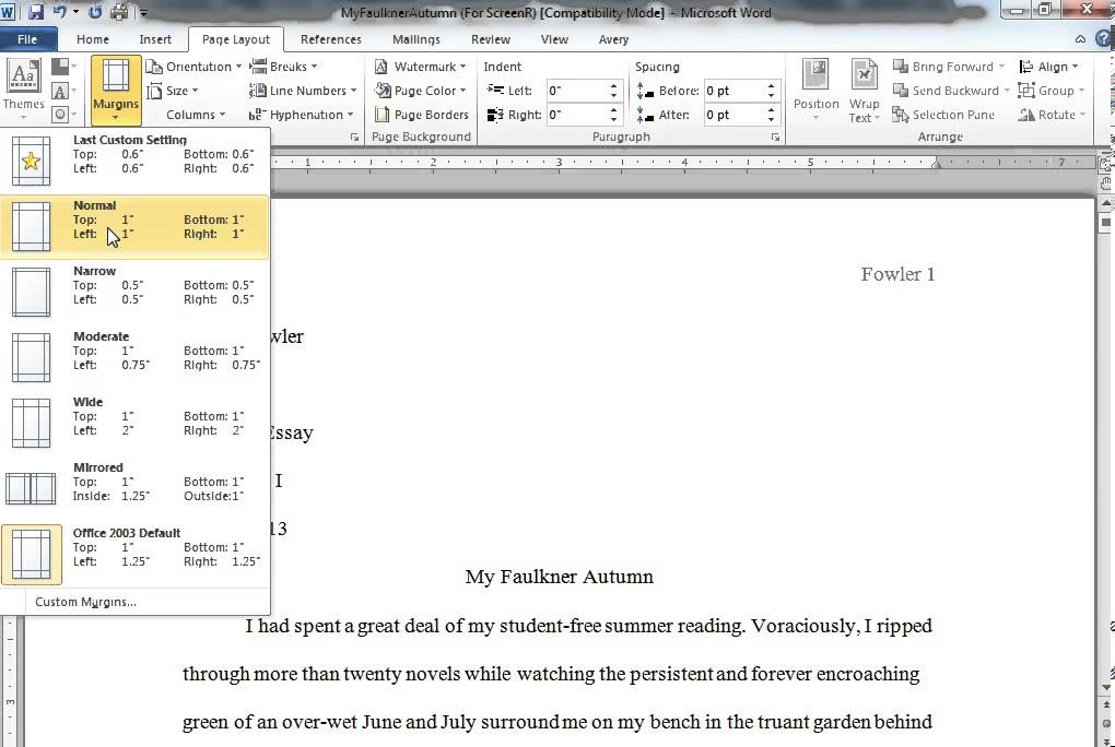 Standard page margins for a research paper Term paper Academic
