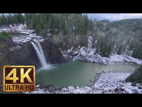 Snoqualmie Falls in Winter - 2 HRS 4K ULTRA HD Nature Relaxation Video with Waterfall Sounds