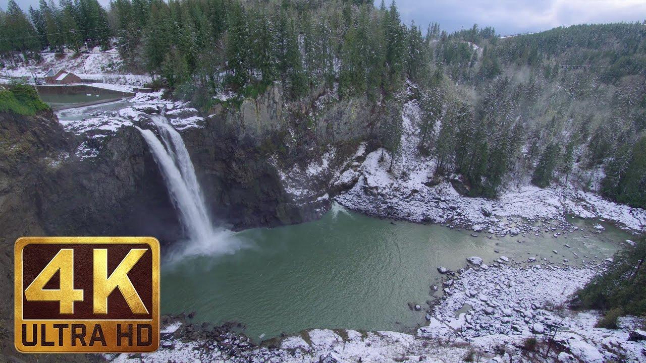 Snoqualmie Falls Wallpaper Snoqualmie Falls In Winter 2 Hrs 4k Ultra Hd Nature