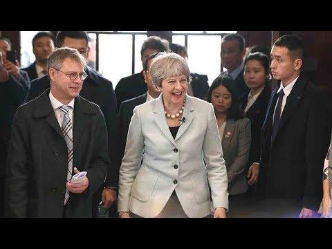British PM Theresa May visits Wuhan University