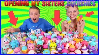 Opening ALL My Sister's Squishies!!
