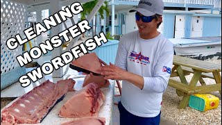 Monster Swordfish 423 Lbs Part 2!  clean and cook