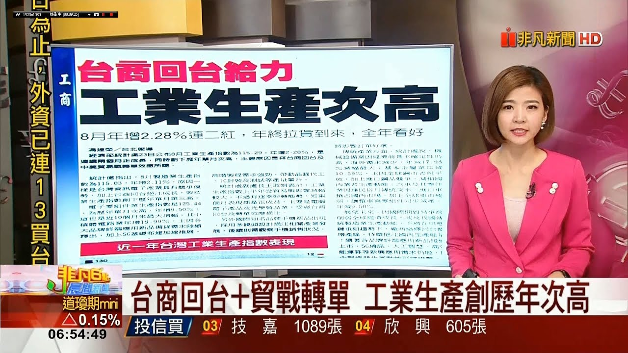 20190924 非凡新聞臺 0600晨間財經新聞 主播王夢萍播報片段 - YouTube