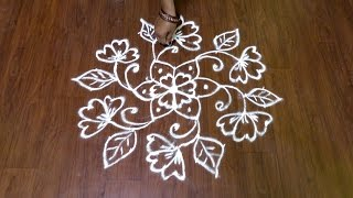 9x5 Middle Dots Flower Rangoli Design | Muggulu | Kolams