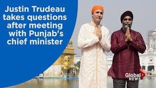 Justin Trudeau speaks after meeting with Punjab leader over Sikh seperatism