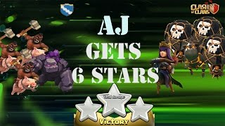 Clash of Clans ◘ AJ Gets Perfect War ◘ 6 Stars in Clan War #W.A.R Jr