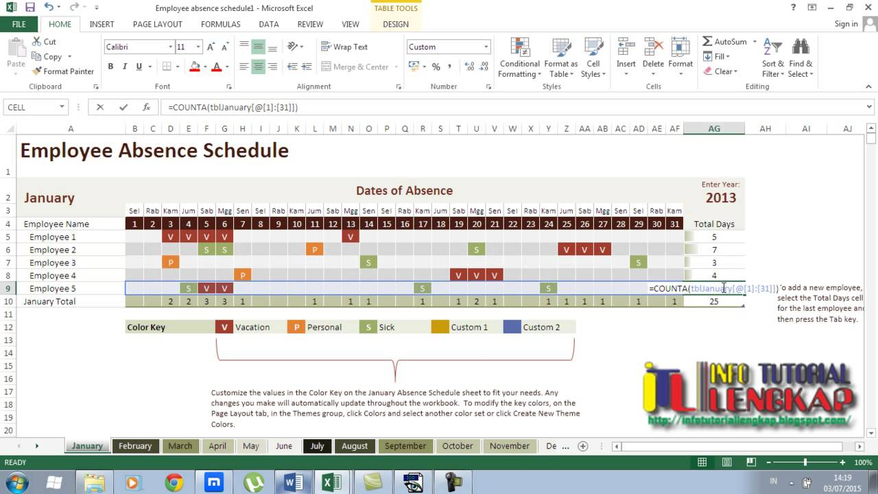 employee absence schedule tutorial excel 2013 youtube