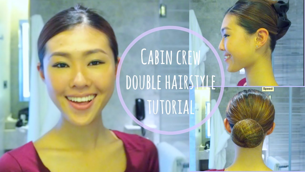 cabin crew double hairstyle tutorial-french twist/hair bun - youtube