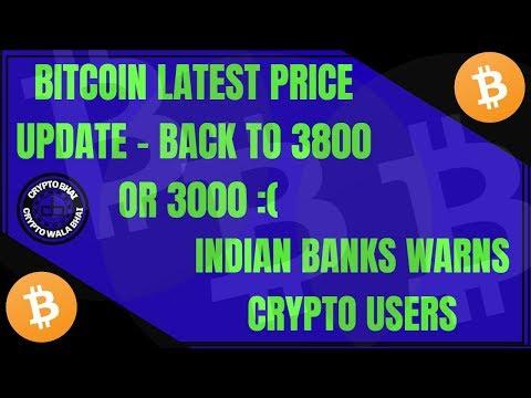{HINDI} Bitcoin - Back to 3800 or 3100 :( || Banks warns crypto users.