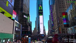 [4K] Tour of Manhattan from Big Bus Tourist Hop On Off Bus Roof New York USA