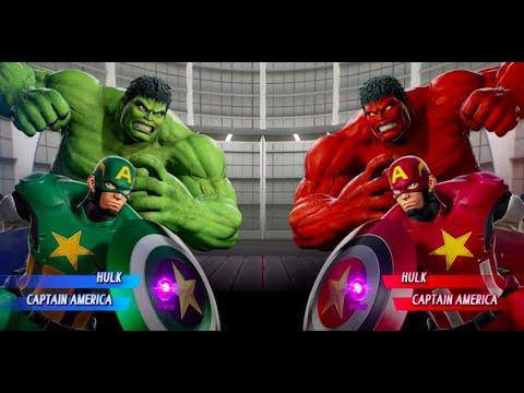 Hulk And Green Captain America Vs Red Hulk And Red Captain America - MARVEL VS. CAPCOM: INFINITE