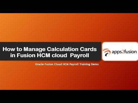 Manage Calculation Cards in Fusion HCM Cloud Payroll