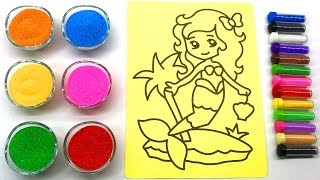Mermaid Sand Painting   10 Kinds of Colored Sand   Sand Painting art for Kids